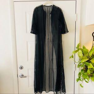 Vintage Kimono Black Longline Mesh Robe